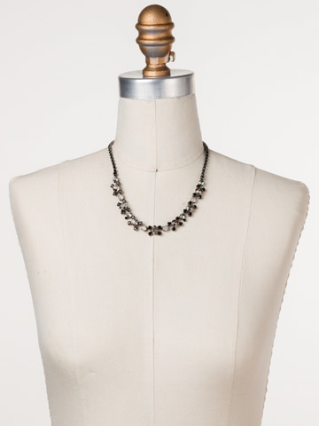 Perfect Harmony Line Necklace in Antique Silver-tone Black Onyx displayed on a necklace bust