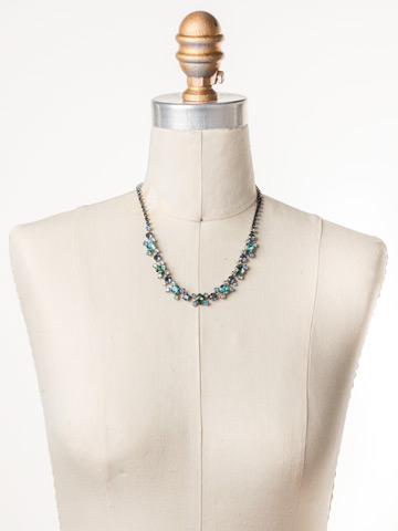 Perfect Harmony Line Necklace in Antique Silver-tone Blue Suede displayed on a necklace bust