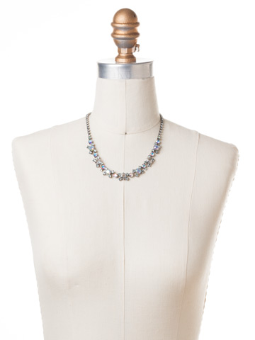 Perfect Harmony Line Necklace in Antique Silver-tone Rainbow Quartz displayed on a necklace bust