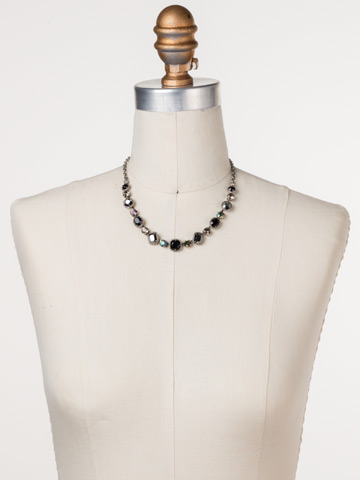 Embellished Elegance Necklace in Antique Silver-tone Black Onyx displayed on a necklace bust
