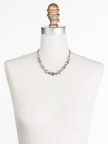 Embellished Elegance Necklace in Antique Silver-tone Crystal Rock displayed on a necklace bust