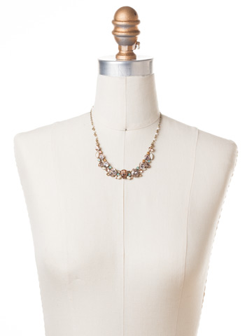 Multi-Stone Majestic Statement Necklace in Antique Gold-tone Apricot Agate displayed on a necklace bust
