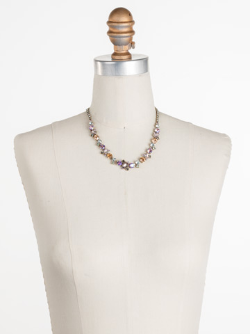 Sophisticate Classic Line Necklace in Antique Gold-tone Washed Waterfront displayed on a necklace bust