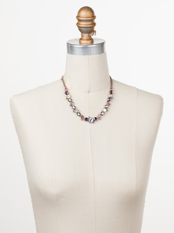Sophisticate Classic Line Necklace in Antique Silver-tone Stargazer displayed on a necklace bust