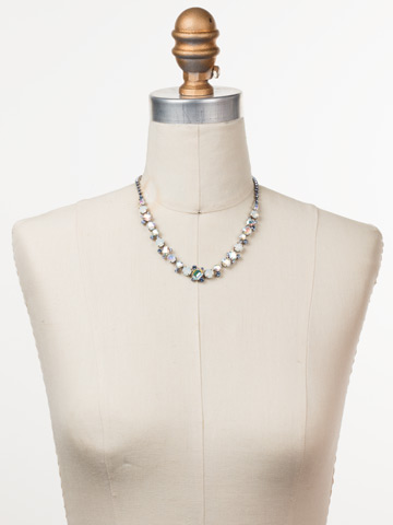 Sophisticate Classic Line Necklace in Antique Silver-tone Glacier displayed on a necklace bust