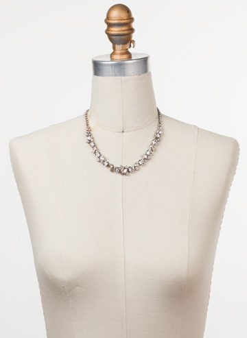 Sophisticate Classic Line Necklace in Antique Silver-tone Soft Petal displayed on a necklace bust
