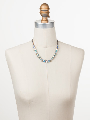 Sophisticate Classic Line Necklace in Antique Silver-tone Pastel Prep displayed on a necklace bust