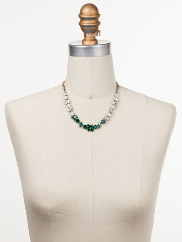 Sophisticate Classic Line Necklace in Antique Silver-tone Snowy Moss displayed on a necklace bust