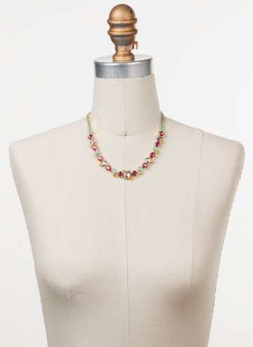 Sophisticate Classic Line Necklace in Bright Gold-tone Candy Pop displayed on a necklace bust