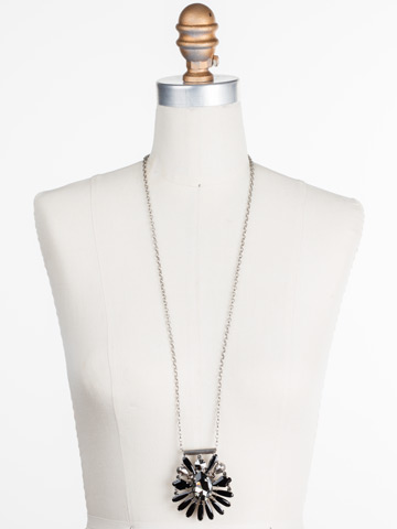 Radiant Gems Statement Pendant in Antique Silver-tone Black Onyx displayed on a necklace bust