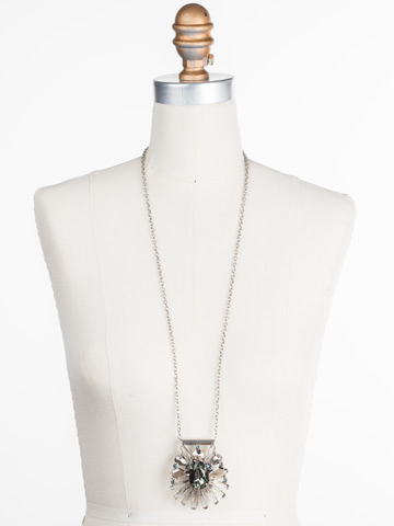 Radiant Gems Statement Pendant in Antique Silver-tone Crystal Rock displayed on a necklace bust