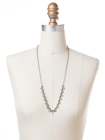 Fringe Benefits Long Strand Necklace in Antique Silver-tone Pebble Blue displayed on a necklace bust