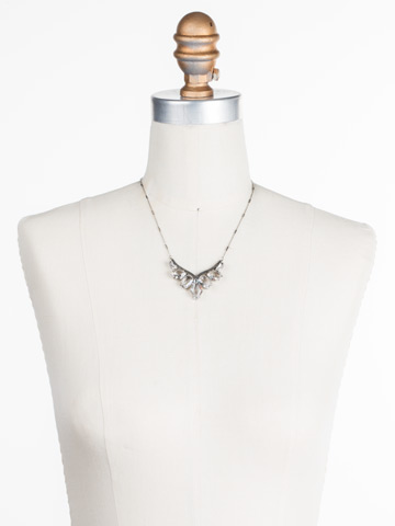To the Point Necklace in Antique Silver-tone Crystal displayed on a necklace bust