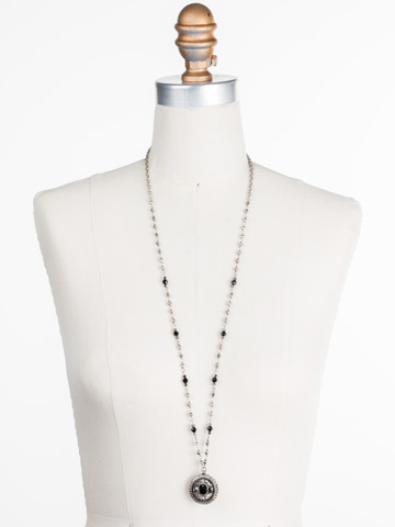 Majestic Medallion Pendant in Antique Silver-tone Black Onyx displayed on a necklace bust