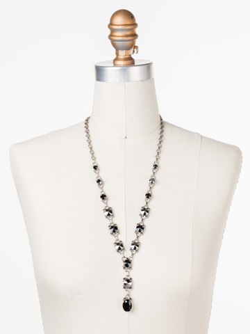 Marigold Necklace in Antique Silver-tone Black Onyx displayed on a necklace bust