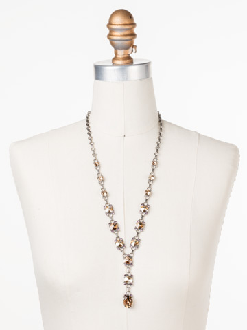 Marigold Necklace in Antique Silver-tone Mirage displayed on a necklace bust