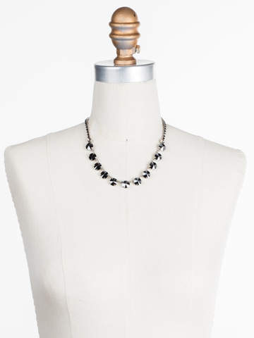Simply Sophisticated Line Necklace in Antique Silver-tone Black Onyx displayed on a necklace bust