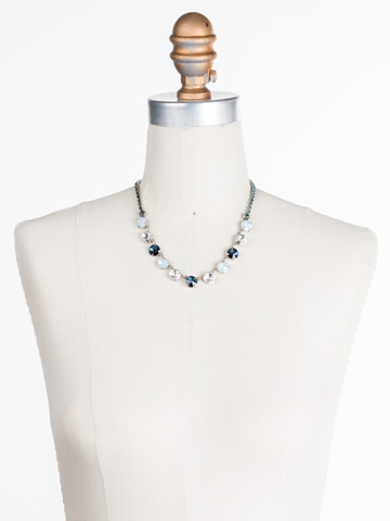 Simply Sophisticated Line Necklace in Antique Silver-tone Glory Blue displayed on a necklace bust