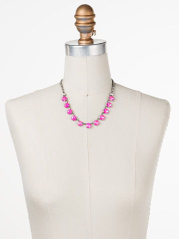 Simply Sophisticated Line Necklace in Antique Silver-tone Pink Mutiny displayed on a necklace bust