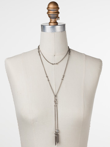 All Tied Up Necklace in Antique Silver-tone Crystal displayed on a necklace bust