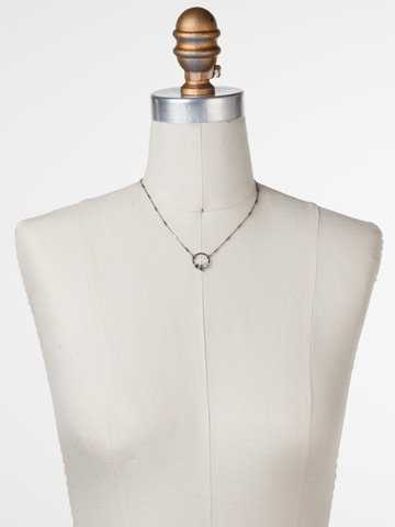 Haute Hammered Necklace in Antique Silver-tone Crystal displayed on a necklace bust