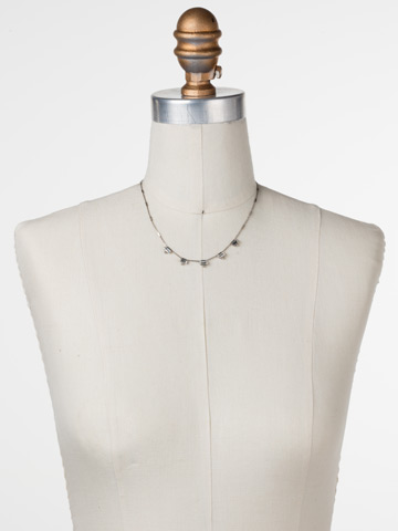 Shine and Dash Necklace in Antique Silver-tone Crystal displayed on a necklace bust