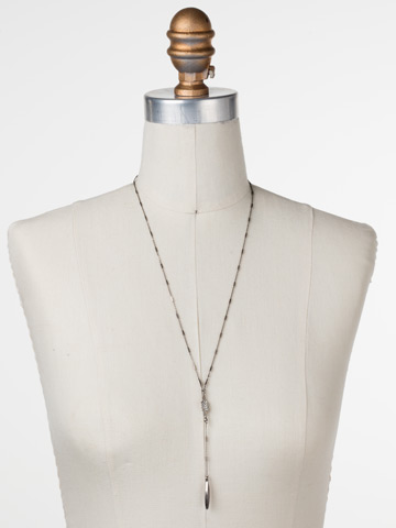 Point It Out Necklace in Antique Silver-tone Crystal displayed on a necklace bust