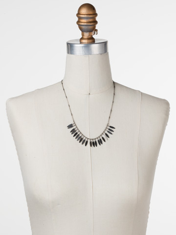 Feathered Fringe Necklace in Antique Silver-tone Crystal displayed on a necklace bust