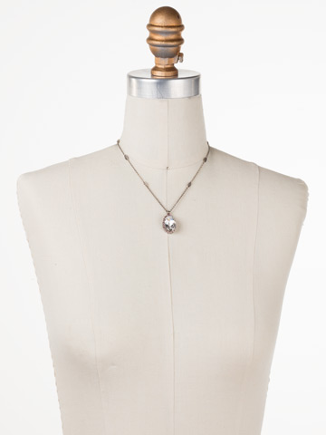 Outright Oval Necklace in Antique Silver-tone Crystal Rose displayed on a necklace bust