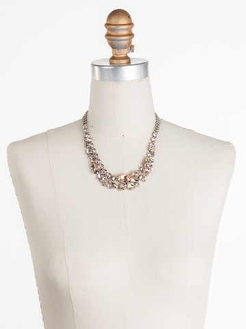 Muscari Necklace in Antique Silver-tone Satin Blush displayed on a necklace bust