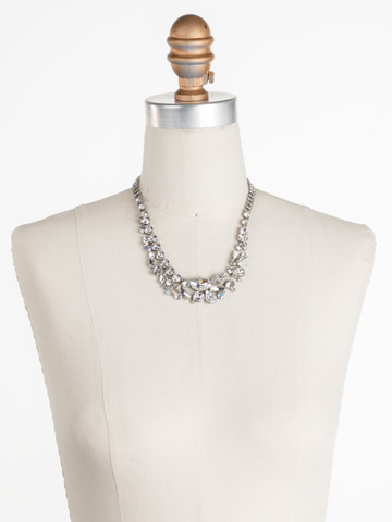 Muscari Necklace in Antique Silver-tone White Bridal displayed on a necklace bust