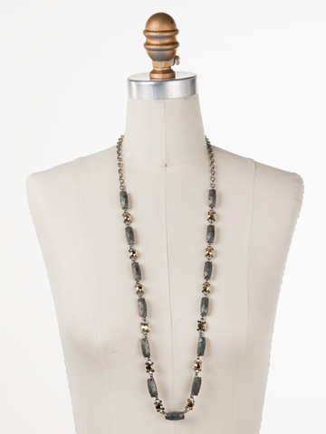 Rock Solid Necklace in Antique Silver-tone Modern Metallic displayed on a necklace bust