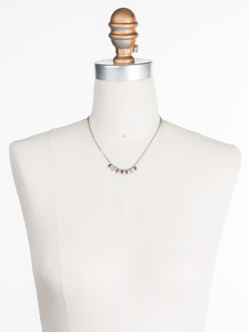 Delicate Dots Necklace in Antique Silver-tone Battle Blue displayed on a necklace bust