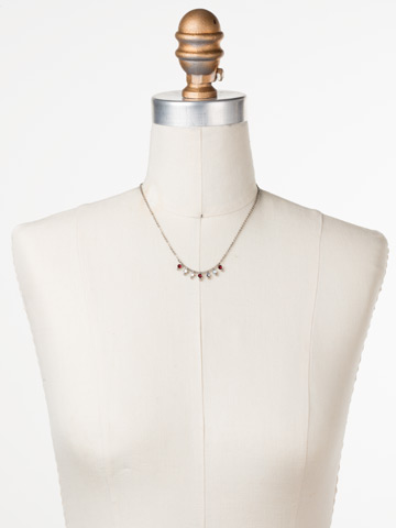 Delicate Dots Necklace in Antique Silver-tone Crimson Pride displayed on a necklace bust