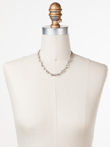 Simply Stated Line Necklace in Antique Silver-tone Crystal displayed on a necklace bust