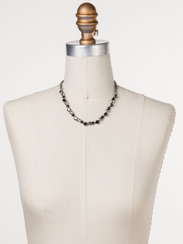 Dazzling Diamonds Line Necklace in Antique Silver-tone Black Onyx displayed on a necklace bust