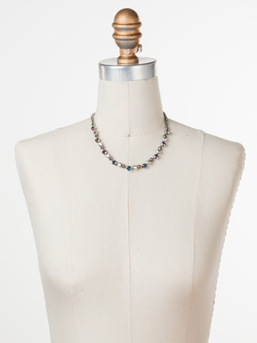 Dazzling Diamonds Line Necklace in Antique Silver-tone Crystal Rock displayed on a necklace bust