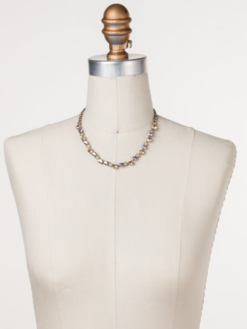Dazzling Diamonds Line Necklace in Antique Silver-tone Mirage displayed on a necklace bust