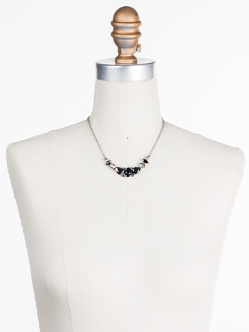 Crystal Crysathemum Necklace in Antique Silver-tone Black Onyx displayed on a necklace bust