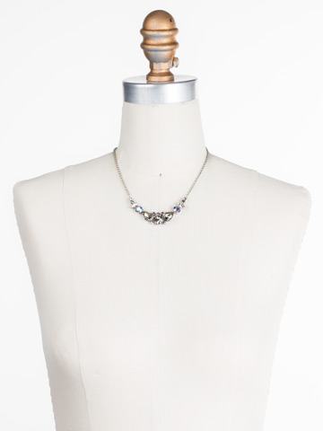 Crystal Crysathemum Necklace in Antique Silver-tone Crystal Rock displayed on a necklace bust