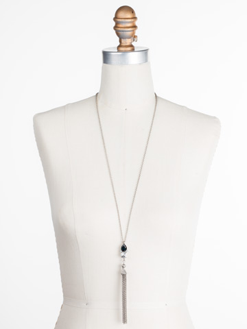Timeless Tassel Necklace in Antique Silver-tone Glory Blue displayed on a necklace bust
