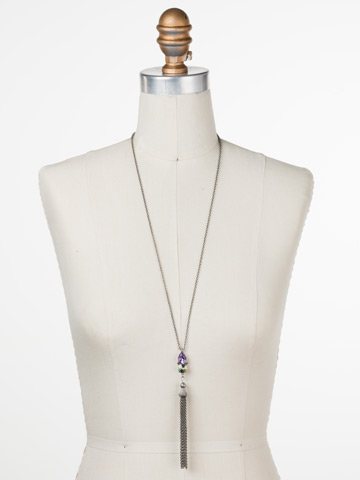 Timeless Tassel Necklace in Antique Silver-tone Lilac Pastel displayed on a necklace bust