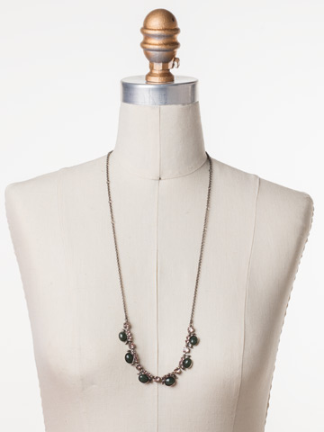 Semi-Charmed Necklace in Antique Silver-tone Army Girl displayed on a necklace bust