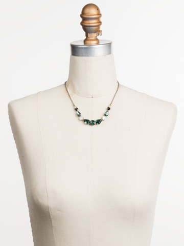 Polished Pear Necklace in Antique Silver-tone Game Day Green displayed on a necklace bust