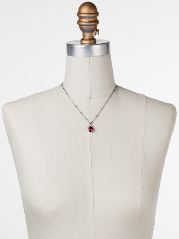 Crowning Around Necklace in Antique Silver-tone Crimson Pride displayed on a necklace bust