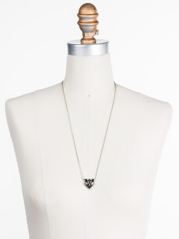 Mini Medalion Pendant Necklace in Antique Silver-tone Black Onyx displayed on a necklace bust