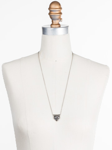 Mini Medalion Pendant Necklace in Antique Silver-tone Crystal Rock displayed on a necklace bust