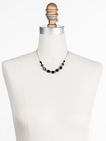 Divide and Conquer Necklace in Antique Silver-tone Black Onyx displayed on a necklace bust