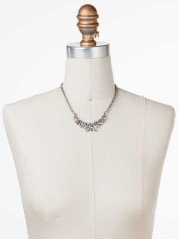 Cluster Bib-Necklace in Antique Silver-tone White Bridal displayed on a necklace bust