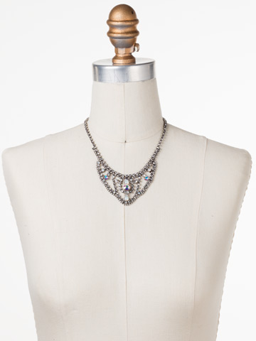 Crystal Crochet Statement Necklace in Antique Silver-tone White Bridal displayed on a necklace bust